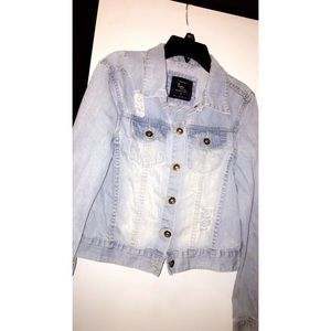 Ripped baby blue jean jacket